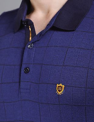 True Blue Blue Slim Fit Check Polo Shirt