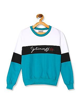 Cherokee Girls Crew Neck Colour Block Sweatshirt