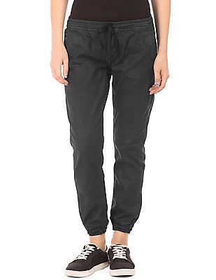 EdHardy Women Coated Loose Fit Jogger Jeans