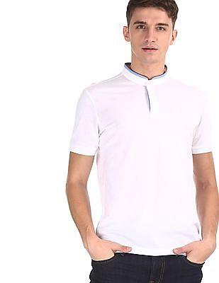 Arrow Sports White Concealed Placket Mandarin Collar Polo Shirt