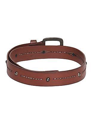 Flying Machine Brown Stud Embellished Leather Belt