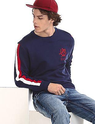 U.S. Polo Assn. Blue Panelled Sleeve Crew Neck Sweatshirt