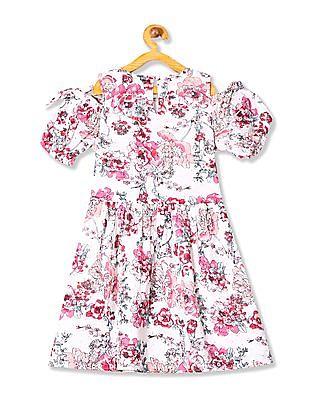 U.S. Polo Assn. Kids Girls Cold Shoulder Printed Dress