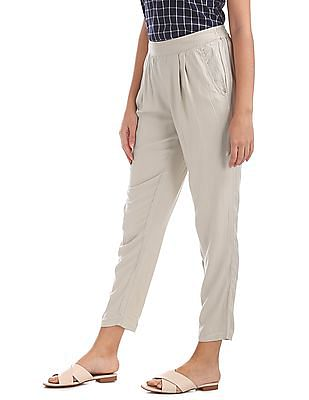 Bronz Pleated Front Woven Pants