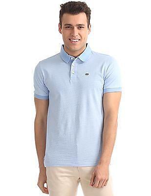 Arrow Sports Geometric Print Jersey Polo Shirt