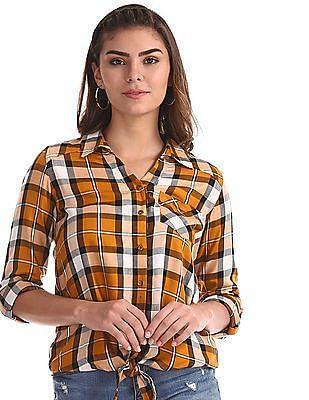 Cherokee Yellow Tie Up Front Check Shirt