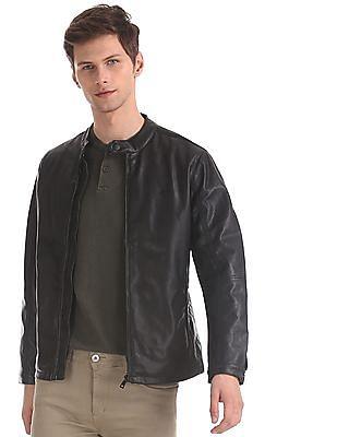 Flying Machine Black Perforated Sleeve Zip Up Jacket