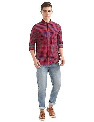 Izod Slim Fit Gingham Check Shirt