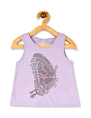 The Children's Place Toddler Girl Purple Sleeveless Cutout Back Sequin Graphic Top