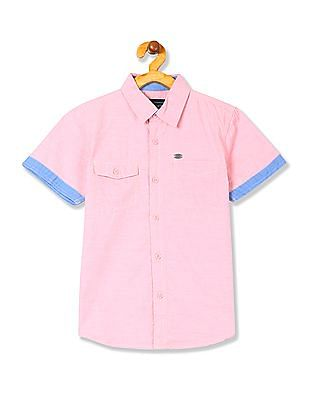 Cherokee Boys Short Sleeve Patterned Shirt