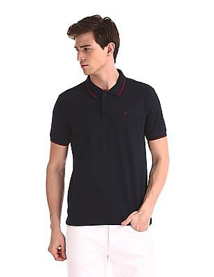 Ruggers Blue Tipped Collar Solid Polo Shirt