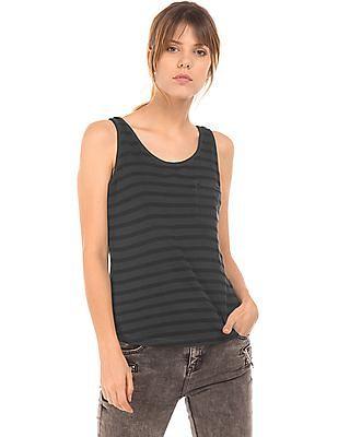 EdHardy Women High Low Hem Striped Tank Top