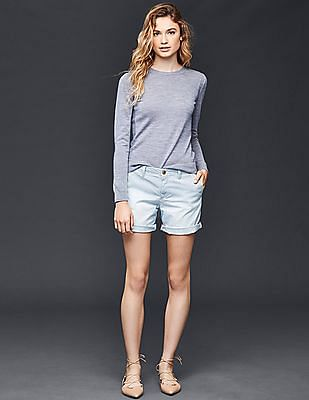 GAP Women Blue Railroad Stripe Girlfriend Chino Shorts