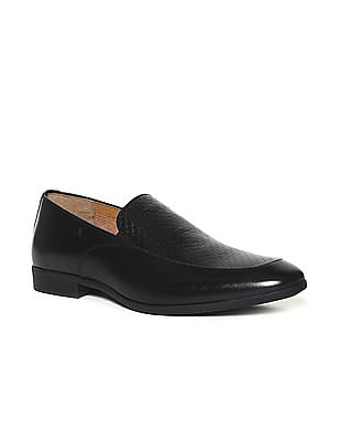 Arrow Black Patterned Leather Slip-On Shoes