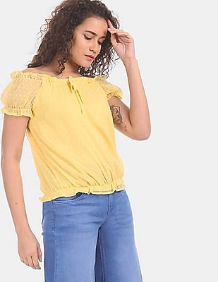 SUGR Women Yellow Dobby Off-Shoulder Top