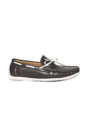Flying Machine Contrast Sole Interlaced Boat Shoes