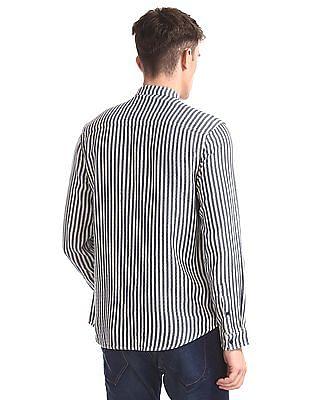Ed Hardy Blue And Off-White Mandarin Collar Vertical Stripe Shirt