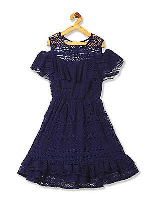 Cherokee Girls Ruffle Hem Lace Dress