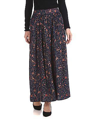 Bronz Contrast Print Flared Maxi Skirt