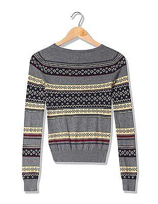 Aeropostale Patterned Knit Long Sleeve Sweater