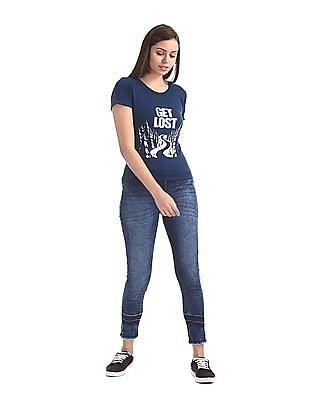 Cherokee Blue Upturn Sleeve Flocked T-Shirt