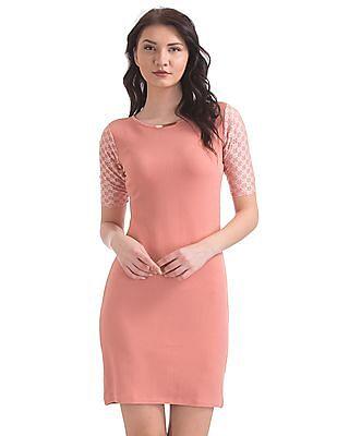 Elle Studio Lace Sleeve Bodycon Dress