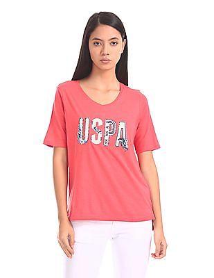 U.S. Polo Assn. Women High Low Hem Appliqued T-Shirt