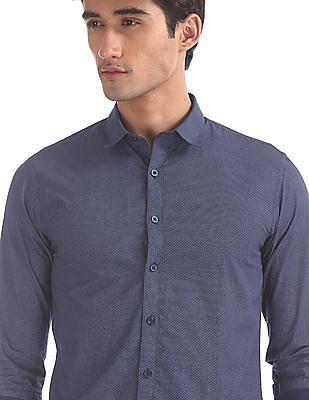 Flying Machine Blue Allover Print Cotton Shirt