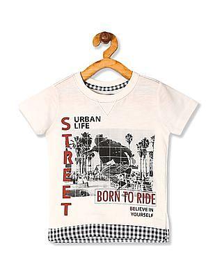Cherokee White Boys Layered Hem Printed T-Shirt