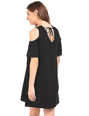 Elle Cold Shoulder Textured A-Line Dress