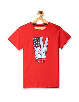 FM Boys Red Boys Crew Neck Printed T-Shirt