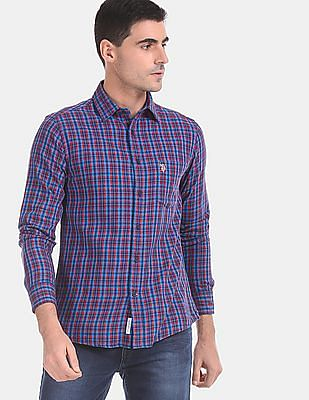 U.S. Polo Assn. Men Red And Blue Rounded Cuff Check Shirt