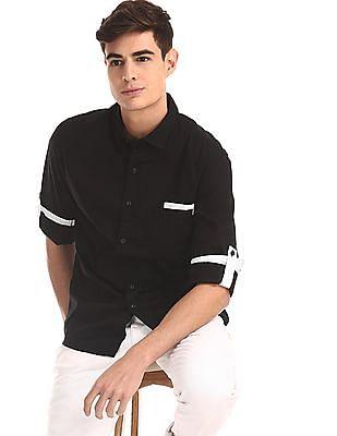 Colt Black Semi Cutaway Collar Solid Shirt