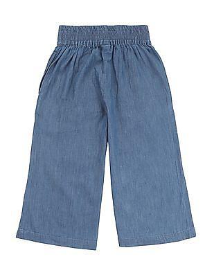 Cherokee Girls Wide Leg Chambray Pants