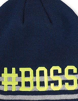 The Children's Place Boys Glow In The Dark Striped Embroidered Boss Beanie