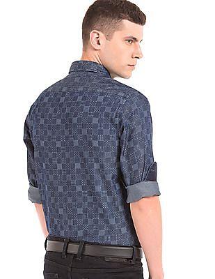 Arrow Sports Printed Chambray Shirt