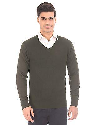 Arrow Patterned Knit Merino Wool Sweater