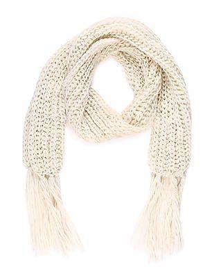 SUGR White Tasselled Hem Chain Knit Muffler