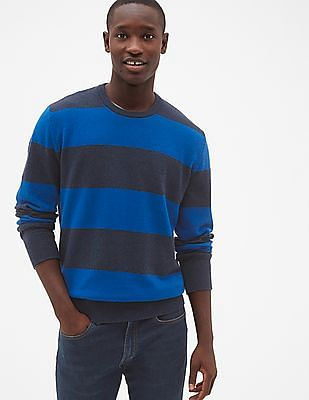 GAP Men Blue Cozy Classic Rugby Stripe Sweater