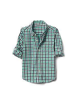 GAP Boys Green Check Button-Down Convertible Shirt