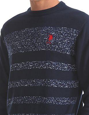U.S. Polo Assn. Striped Heathered Crew Neck Sweater