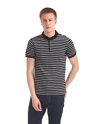 Arrow Sports Mandarin Collar Striped Polo Shirt