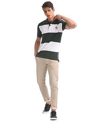U.S. Polo Assn. Green And White Striped Pique Polo Shirt