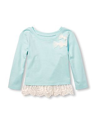 The Children's Place Toddler Girl Long Sleeve 3D Bow Lace Hem Top
