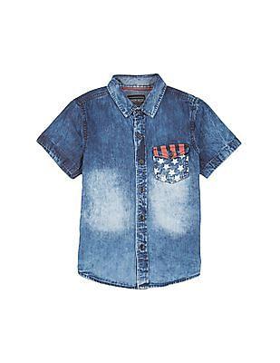 Cherokee Boys Acid Washed Chambray Shirt