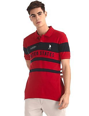U.S. Polo Assn. Red Striped Pique Polo Shirt