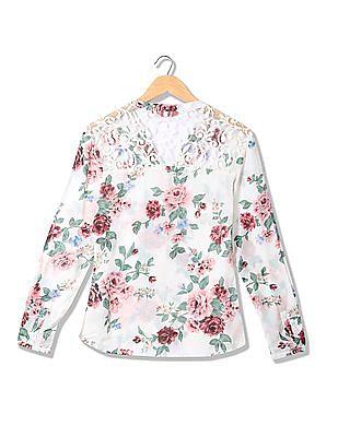 Elle Lace Floral Print Mandarin Shirt