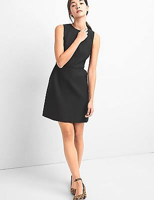 GAP Women Black Structured Fit And Flare Dress