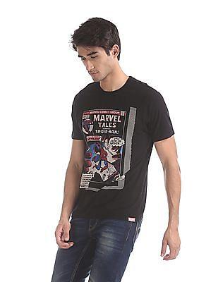 Colt Black Spiderman Graphic Cotton T-Shirt