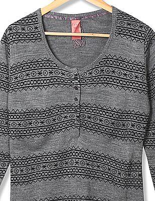 Flying Machine Women Standard Fit Patterned Knit Sweater